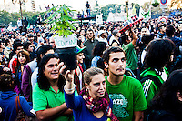 A woman holds up a marijuana plant while she takes part in a rally to support Marijuana decriminalization in Buenos Aires, Argentina May 4, 2013. Photo by Juan Gabriel Lopera / VIEWpress.