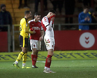 Fleetwood Town's Wes Burns looks dejected at the final whistle<br /> <br /> Photographer Rich Linley/CameraSport<br /> <br /> The EFL Sky Bet League One - Fleetwood Town v Oxford United - Saturday 12th January 2019 - Highbury Stadium - Fleetwood<br /> <br /> World Copyright &copy; 2019 CameraSport. All rights reserved. 43 Linden Ave. Countesthorpe. Leicester. England. LE8 5PG - Tel: +44 (0) 116 277 4147 - admin@camerasport.com - www.camerasport.com
