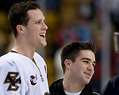 Mike Brennan (BC 4), Justin Murphy (BC student manager) - The Boston College Eagles defeated the Harvard University Crimson 6-5 in overtime on Monday, February 11, 2008, to win the 2008 Beanpot at the TD Banknorth Garden in Boston, Massachusetts.