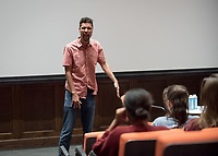 The first speaker for the Oxy Arts Speaker Series, Will Power, an award ­winning playwright, performer and educator, who is considered a pioneer in the hip­ hop theatre movement. Professor Laural Meade moderates, Choi Auditorium, September 25, 2017.<br /> The Oxy Arts Speaker Series brings five multidisciplinary LA-based artists to Occidental College to engage our community in conversation about their art, their inspirations, and why they do what they do in Los Angeles today.<br /> (Photo by Marc Campos, Occidental College Photographer)