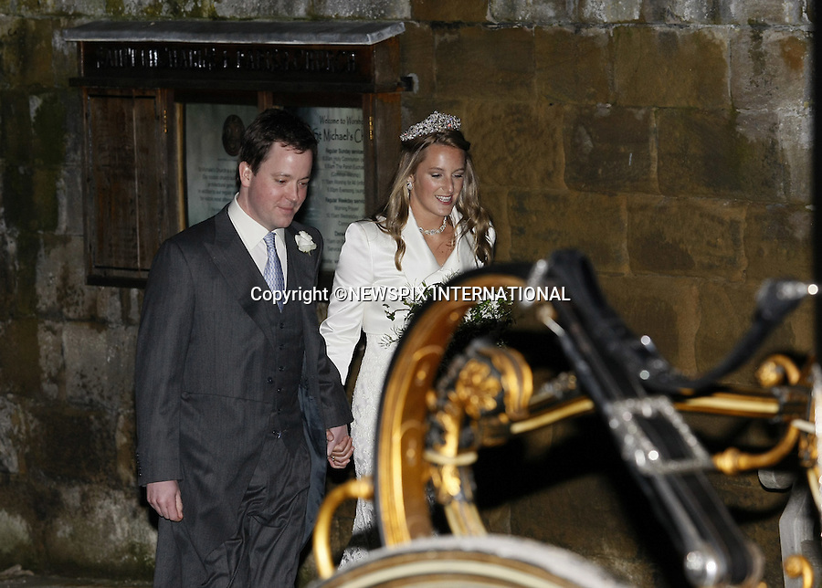"""Kate Middleton's sister Pippa was among the guests at a fairytale aristocratic wedding..Lady Katie Percy, daughter of the Duke of Northumberland, married City financier Patrick Valentine, followed by a reception at her family's Alnwick Castle, which doubles as Hogwarts in the Harry Potter films..She travelled the short distance down Bailiffgate, Alnwick, from the castle to St Michael's Parish Church in a restored horse-drawn carriage..Pippa Middleton, who wore a fetching pink and black outfit, was followed by Chelsea Davy, who has been dating Prince Harry..Speculation that his brother William, and Kate Middleton - who are friends of Lady Percy - were due to attend meant there were around 20 photographers waiting outside...Mandatory Credit Photos: ©Newspix International..**ALL FEES PAYABLE TO: """"NEWSPIX INTERNATIONAL""""**..PHOTO CREDIT MANDATORY!!: NEWSPIX INTERNATIONAL(Failure to credit will incur a surcharge of 100% of reproduction fees)..IMMEDIATE CONFIRMATION OF USAGE REQUIRED:.Newspix International, 31 Chinnery Hill, Bishop's Stortford, ENGLAND CM23 3PS.Tel:+441279 324672  ; Fax: +441279656877.Mobile:  0777568 1153.e-mail: info@newspixinternational.co.uk"""