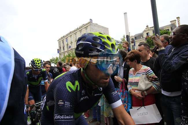 Alejandro Valverde (ESP) Movistar Team crosses the finish line of Stage 3 of the 2016 Tour de France, running 223.5km from Granville to Angers, France . 4th July 2016.<br /> Picture: Eoin Clarke | Newsfile<br /> <br /> <br /> All photos usage must carry mandatory copyright credit (&copy; Newsfile | Eoin Clarke)