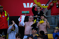 Happy fans during the A-League football match between Wellington Phoenix and Newcastle Jets at Westpac Stadium in Wellington, New Zealand on Sunday, 21 october 2018. Photo: Dave Lintott / lintottphoto.co.nz