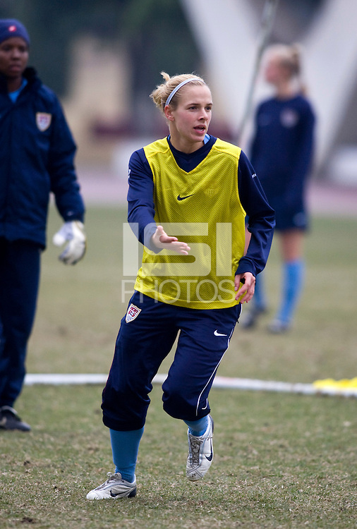 Lindsay Tarpley. The USWNT practices during a cold, rainy day while in  Guangzhou, China, for the Four Nations Tournament on January 17, 2008.