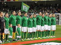 15th October 2013; Ireland team line up before kick off. World Cup Qualifier Group C, Republic of Ireland v Kazakhstan, Aviva Stadium, Dublin. Picture credit: Tommy Grealy/actionshots.ie.