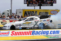 Apr 10, 2015; Las Vegas, NV, USA; NHRA funny car driver John Force during qualifying for the Summitracing.com Nationals at The Strip at Las Vegas Motor Speedway. Mandatory Credit: Mark J. Rebilas-