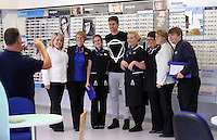 Pictured: Federico Fernandez with Boots employees Sunday 28 June 2015<br />