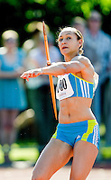 23 MAY 2010 - LOUGHBOROUGH, GBR - Jessica Ennis throws in the  Womens Javelin at the Loughborough International Athletics .(PHOTO (C) NIGEL FARROW)