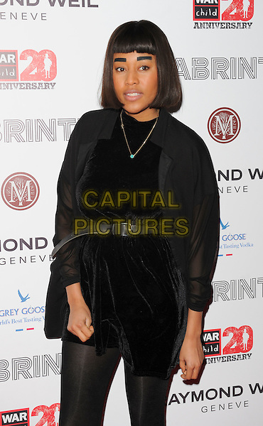 VV Brown (Vanessa Brown).Attending the Raymond Weil Pre-Brit Awards Dinner and 20th anniversary celebration of War Child at Mosaica, Wood Green, London, UK, .January 24th 2013..half length black fringe eyebrows  velvet dress belt tights shirt sheer .CAP/GM/PP.©Gary Mitchell/PP/Capital Pictures