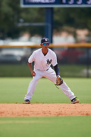 GCL Yankees East second baseman Asdrubal Alvarez (38) during a Gulf Coast League game against the GCL Phillies East on July 31, 2019 at Yankees Minor League Complex in Tampa, Florida.  GCL Yankees East defeated the GCL Phillies East 11-0 in the first game of a doubleheader.  (Mike Janes/Four Seam Images)
