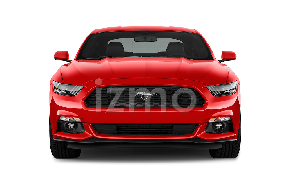 Car photography straight front view of a 2015 Ford Mustang V6 2 Door Coupe Front View