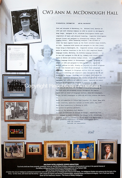 WOODBURY, CT. 02 May 2012-050212SV07-This is a copy of a poster hanging in a building that was dedicated to  Ann M. McDonough in Baltimore Maryland. Ann M. McDonough  was an American spy in WWll. She was from Waterbury..