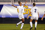 4 November 2005: Virginia's Jen Redmond (right) congratulates teammate Jess Rostedt (left) on her 4th minute goal, which gave UVa a 1-0 lead. The University of Virginia defeated Florida State University 2-0 at SAS Stadium in Cary, North Carolina in the semifinals of the 2005 ACC Women's Soccer Championship.