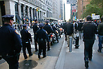 Heavy police presence at the Occupy Wall Street Protest in New York City October 6, 2011.