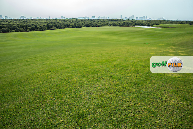 View of the 11th green and 9th green closely  at Al Zorah Golf Club, Dubai, United Arab Emirates.  26/01/2016. Picture: Golffile | David Lloyd<br /> <br /> All photos usage must carry mandatory copyright credit (&copy; Golffile | David Lloyd)