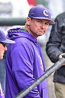 Clemson Tigers head coach Monte Lee (18) before a game against the South Carolina Gamecocks at Fluor Field on March 5, 2016 in Greenville, South Carolina. The Tigers defeated the Gamecocks 5-0. (Tony Farlow/Four Seam Images)