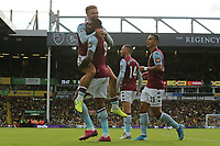 Wesley of Aston Villa in action celebrates scoring Villa's second goal herewith Jack Grealish of Aston Villa during Norwich City vs Aston Villa, Premier League Football at Carrow Road on 5th October 2019
