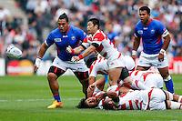 Japan Scrum-Half Fumiaki Tanaka in action - Mandatory byline: Rogan Thomson - 03/10/2015 - RUGBY UNION - Stadium:mk - Milton Keynes, England - Samoa v Japan - Rugby World Cup 2015 Pool B.