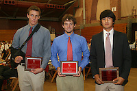 "STANFORD, CA - June 12:  Austin Staab, Alex Clayton, and Sihwan Kim accept their Block ""S"" Outstanding Male Freshman awards during the 2008 Athletic Board Award Luncheon at the Ford Center in Stanford, California."