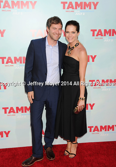 HOLLYWOOD, CA- JUNE 30: Actor Mark Duplass (L) and actress/wife Katie Aselton arrive at the 'Tammy' - Los Angeles Premiere at TCL Chinese Theatre on June 30, 2014 in Hollywood, California.