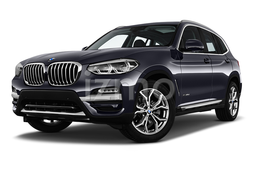 Stock pictures of low aggressive front three quarter view of a 2018 BMW X3 xLine 5 Door SUV