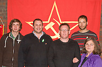 Comrades attending a CPGBML Saklatvala Hall Commemoration which celebrated the centenary of  Kim Il-sung's birth, in front of the party banner Easter Sunday 2012 Southall