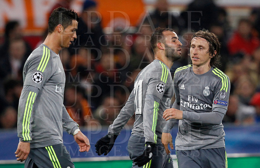 Calcio, andata degli ottavi di finale di Champions League: Roma vs Real Madrid. Roma, stadio Olimpico, 17 febbraio 2016.<br /> Real Madrid's Jese', center, celebrates with teammates Cristiano Ronaldo, left, and Luka Modric, after scoring during the first leg round of 16 Champions League football match between Roma and Real Madrid, at Rome's Olympic stadium, 17 February 2016.<br /> UPDATE IMAGES PRESS/Riccardo De Luca