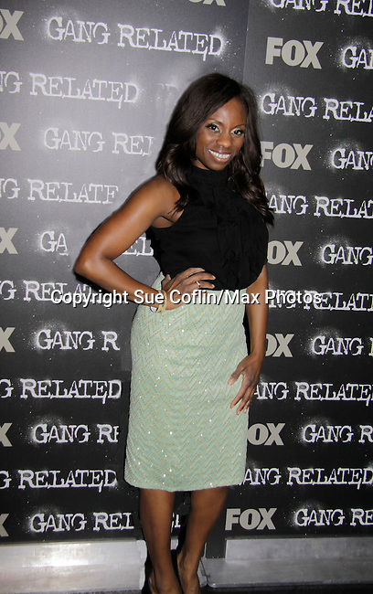 """Delaina Dixon - host of The Gossip Table on VH1 attends Fox's """"Gang Related"""" advance screening of the pilot was held on May 15, 2104  at 40/40 Club, New York City, New York. Gang Related airs on Thursdays at 9 pm starting on May 22.  (Photo by Sue Coflin/Max Photos)"""