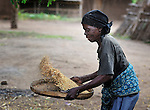 "A woman winnows grain in Chidyamanga, a village in southern Malawi that has been hard hit by drought in recent years, leading to chronic food insecurity, especially during the ""hunger season,"" when farmers are waiting for the harvest."