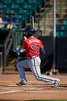 Mississippi Braves Daniel Lockhart (17) at bat during a Southern League game against the Jackson Generals on July 23, 2019 at The Ballpark at Jackson in Jackson, Tennessee.  Jackson defeated Mississippi 2-0 in the first game of a doubleheader.  (Mike Janes/Four Seam Images)