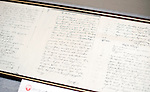 Photo shows the birth certificate of Lafcadio Hearn, which was donated by the mayor of Lefkada, Greece, at the museum dedicated to the half-Greek, half-Irish writer in Matsue, Shimane Prefecture, Japan on 05 Nov. 2012. Photographer: Robert Gilhooly