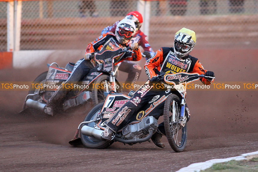 Heat 8: Ricky Wells (yellow) and Tyron Proctor (white) - Lakeside Hammers vs Wolverhampton Wolves - Elite League Speedway at Arena Essex Raceway - 16/05/11 - MANDATORY CREDIT: Gavin Ellis/TGSPHOTO - Self billing applies where appropriate - Tel: 0845 094 6026