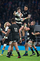 Twickenham, Surrey. England.  All Black, Steven LUATUA, collcts the line out ball,  during the Killik Cup, Barbarians vs New Zealand. Twickenham. UK<br /> <br /> Saturday  04.11.17<br /> <br /> [Mandatory Credit Peter SPURRIER/Intersport Images]