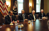 United States President Barack Obama and Vice President Joseph Biden meet with Senate and House bipartisan members to discuss fiscal policy in the Cabinet Room of the White House in Washington, DC on Wednesday, 13 April 2011. Left to right is U.S. House Speaker John Boehner (Republican of Ohio), President Obama, U.S. Senate Majority Leader Harry Reid (Democrat of Nevada), U.S. Senate Republican Leader Mitch McConnell (Republican of Kentucky) as they listen to U.S. Vice President Joe Biden (not shown)..Credit: Bill Auth / Pool via CNP