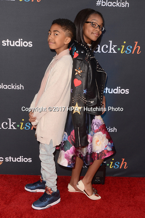 "LOS ANGELES - APR 12:  Miles Brown, Marsai Martin at the ""Blackish"" FYC Event at the Television Academy, on April 12, 2017 in North Hollywood, CA"