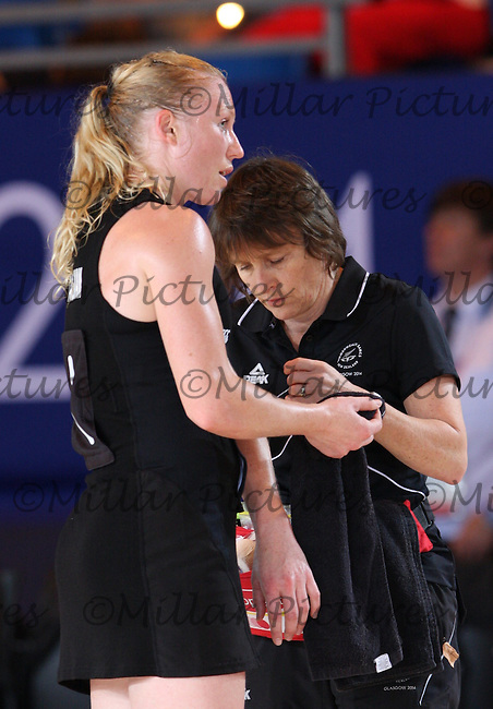 Laura Langman gets treatment in the Team New Zealand against Team England in the Netball Semi Final for the 20th Commonwealth Games, Glasgow 2014 at the Scottish Exhibition and Conference Centre, Glasgow on 2.8.14.