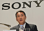 October 1, 2012, Tokyo, Japan - Kazuo Hirai, CEO of Sony Corp., speaks during a news conference in Tokyo on Monday, October 1, 2012, following the announcement of its tie-up with the scandal stricken Olympus Corp...Sony and Olympus have concluded a capital and business tie-up agreement to shore up the scandal-hit Japanese medical equipment and camera maker, and will set up a joint firm to expand their medical operations. With the alliance, Sony will become Olympus' leading shareholder by acquiring a stake of around 11 percent with investment of about 50 billion yen, aiming to expand its medical business as an area of potential growth.  (Photo by Natsuki Sakai/AFLO) AYF -mis-