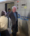 """Author, Taylor Branch of Baltimore, arriving at freeport LIRR station to meet with Jim Peppler of Freeport on Sunday February 6, 2005. Branch was to photos Peppler took in Alabama in the late 1960's for poosible use in Branch's next book """"At Canaan's Edge."""" (Photo copyright Jim Peppler 2004)."""