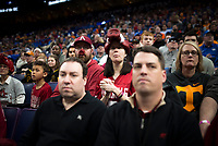 NWA Democrat-Gazette/CHARLIE KAIJO Arkansas Razorbacks fans watch during the Southeastern Conference Men's Basketball Tournament quarterfinals, Friday, March 9, 2018 at Scottrade Center in St. Louis, Mo.