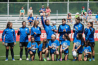 Kansas City, MO - Saturday May 13, 2017:  Alexa Newfield, Sydney Leroux, Brittany Taylor, Yael Averbuch, Lo'eau Labonta, prior to a regular season National Women's Soccer League (NWSL) match between FC Kansas City and the Portland Thorns FC at Children's Mercy Victory Field.