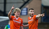 Stephen O'Donnell of Luton Town holds onto Cameron McGeehan of Luton Town as a argument between teammates unfolds during the Sky Bet League 2 match between Wycombe Wanderers and Luton Town at Adams Park, High Wycombe, England on 6 February 2016. Photo by Andy Rowland.