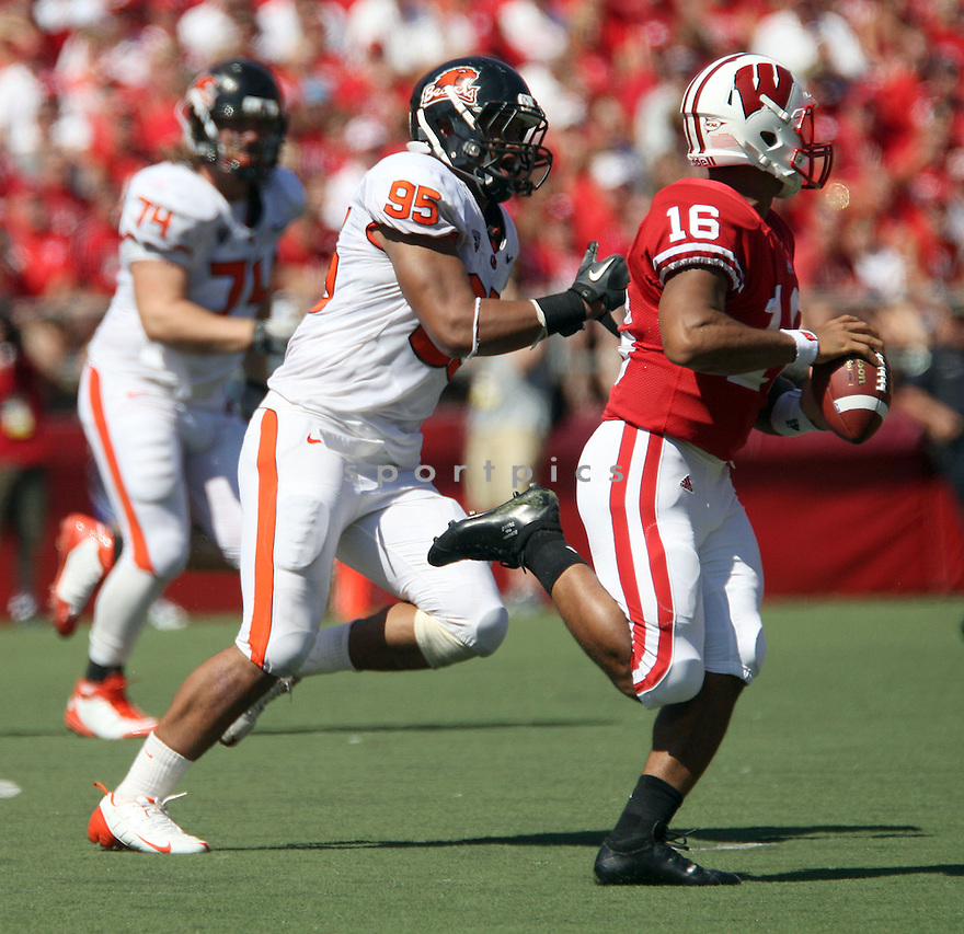 SCOTT CRICHTON, of Oregon State, in action during Oregon State's game against Wisconsin on September 10, 2011 at Camp Randall Stadium in Madison, Wisconsin. Wisconsin beat Oregon State 35-0.