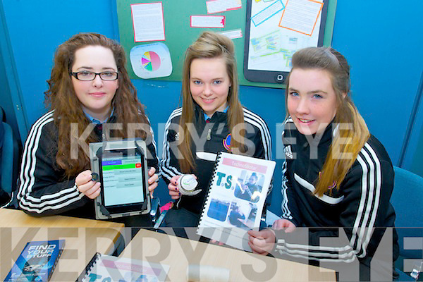 Freya Casey, Rianne Barrett and Aoife Mahony from Causeway Comprehensive with there project 'Technosliotar' at the Scifest, IT Tralee, North Campus on Thursday morning.