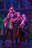 London, UK. 15 September 2015. Cast members performing on stage. The Rocky Horror Show, written and starring Richard O'Brien, returns to the West End for a limited run at the Playhouse theatre from 11 September 2015. The Rocky Horror Show Gala Performance on 17 September will be broadcast live to cinemas across the UK and Europe. With Richard O'Brien as Narrator, David Bedella as Frank'n'furter, Ben Forster as Brad, Haley Flaherty as Janet and Dominic Andersen as Rocky. Photo: Bettina Strenske