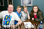 Enjoying the Kingdom Cycling Club Table Quiz at the Ashe Hotel on Friday were l-r  Maurice Lenihan, Ciaran Commane, Adam Lenihan and Leah Enright.