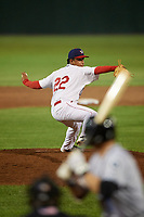 Auburn Doubledays relief pitcher Alfonso Hernandez (22) delivers a pitch during a game against the Hudson Valley Renegades on September 5, 2018 at Falcon Park in Auburn, New York.  Hudson Valley defeated Auburn 11-5.  (Mike Janes/Four Seam Images)