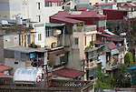 Hanoi, Vietnam, Tall narrow shop houses dominate the city skyline. photo taken July 2008.