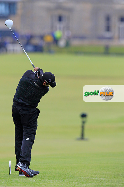 Jason DAY (AUS) tees off the 18th tee during Monday's Final Round of the 144th Open Championship, St Andrews Old Course, St Andrews, Fife, Scotland. 20/07/2015.<br /> Picture Eoin Clarke, www.golffile.ie