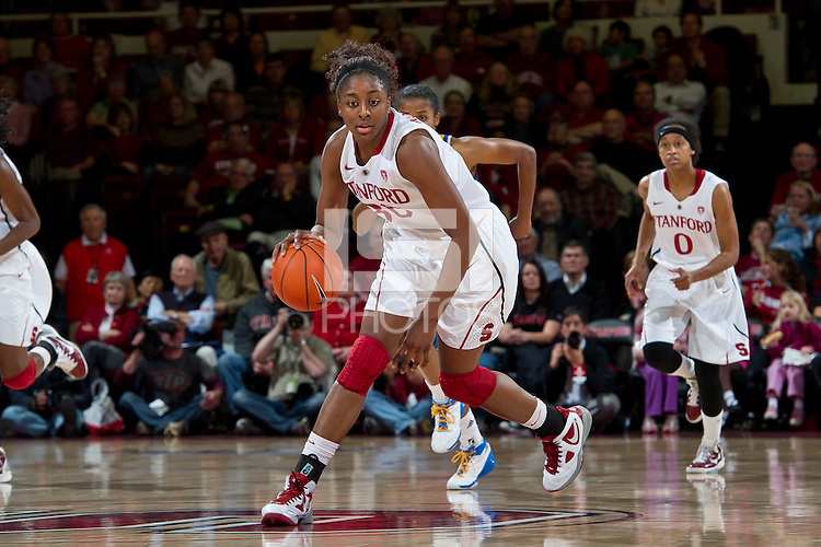 STANFORD, CA - January 20, 2011: Stanford Cardinal's Nnemkadi Ogwumike during Stanford's 64-38 victory over UCLA at Maples Pavilion in Stanford, California.
