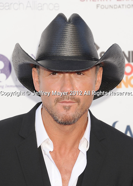 LOS ANGELES, CA - SEPTEMBER 07: Tim McGraw  arrives at Stand Up To Cancer at The Shrine Auditorium on September 7, 2012 in Los Angeles, California.